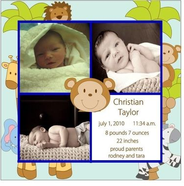 Custom Made 50 Jungle Themed Photo Birth Announcements Customizable To Your Theme