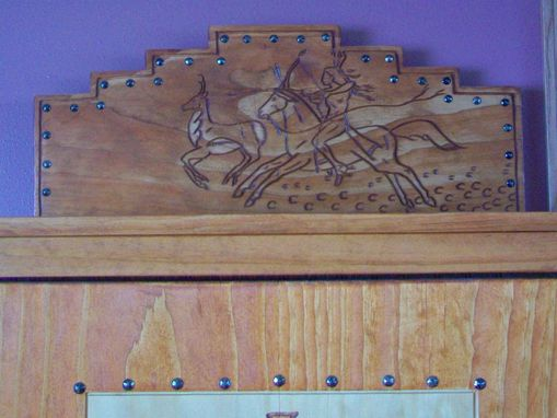 Custom Made Media Cabinet, Hand Carved Door