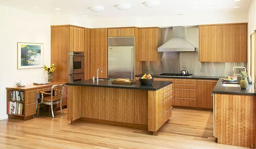 Custom Made Cherry Wood Modern Kitchen, Bathroom, Living Room