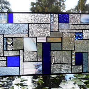 Stained Gl Panel Shades Of Blue Crazy Quilt Patchwork Geometric Window Transom By Lin