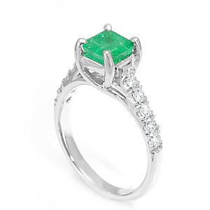 Custom Made Emerald And Diamond Engagement Ring In 14k White Gold, Emerald Ring, Diamond Ring