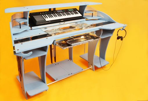 Custom Made Custom Industrial Contemporary Eclectic Light Desk Dj Stand