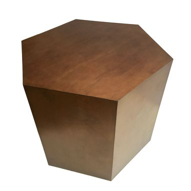 Custom Made Hexagon Wood Modern Geometric Table- Oil Rubbed Bronze