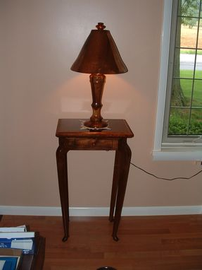 Custom Made Walnut Table With Matching Lamp