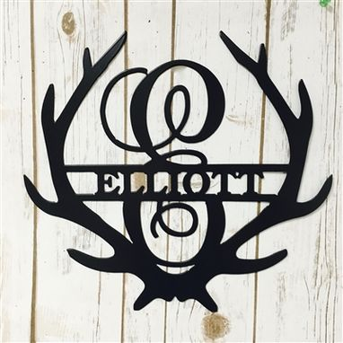 Custom Made Family Name Antler Sign - Metal