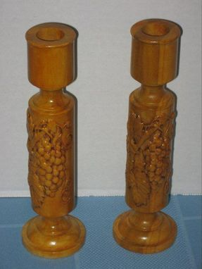 Custom Made Carved Wine Grape Candlesticks