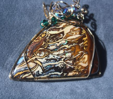 "Custom Made Australian Boulder Opal Picture Stone ""Avatar"" Pendant Wire Wrapped In 14kt Rolled Gold Wire"