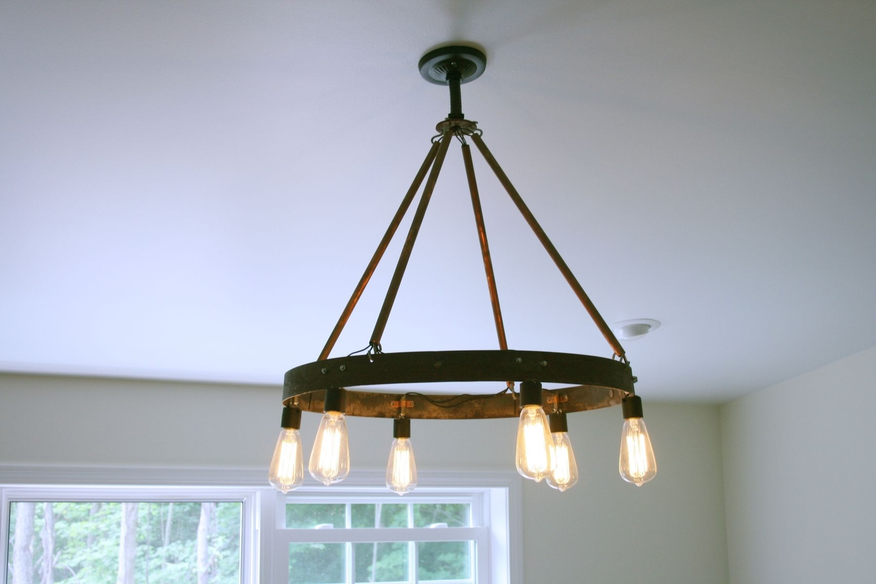 Buy a custom bourbon barrel ring chandelier featuring 6 edison custom made bourbon barrel ring chandelier featuring 6 edison bulb arubaitofo Images