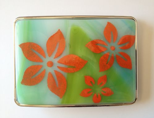Custom Made Orange Flowers On Blue And Green Fused Glass Belt Buckle