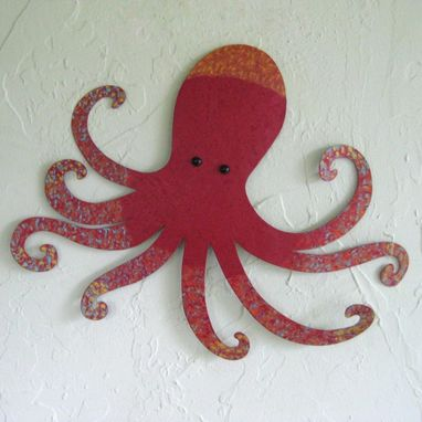Custom Made Handmade Upcycled Metal Octopus Wall Art Sculpture In Red