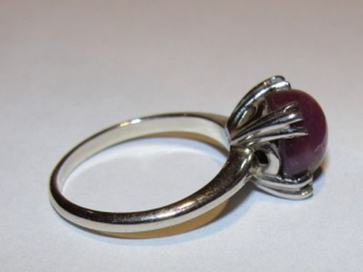 Custom Made 14 Kt White Gold And Cabochon Star Ruby Ring