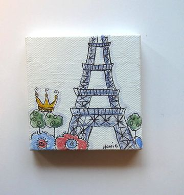 Custom Made Acrylic Painting, Paris Eiffel Tower And A Crown Original Pen And Ink On Canvas