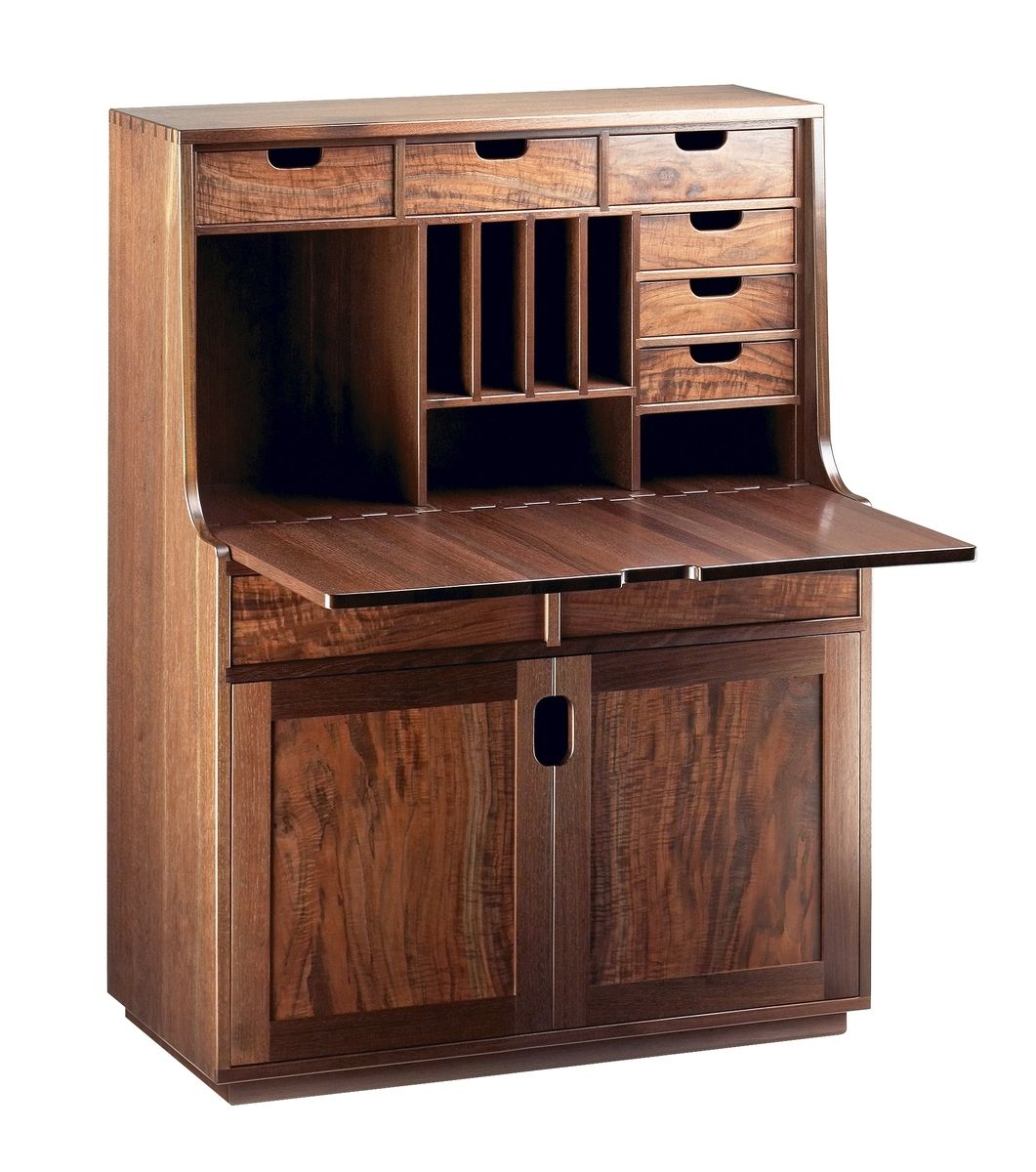 Custom Made Contemporary Claro Black Walnut Secretary Desk