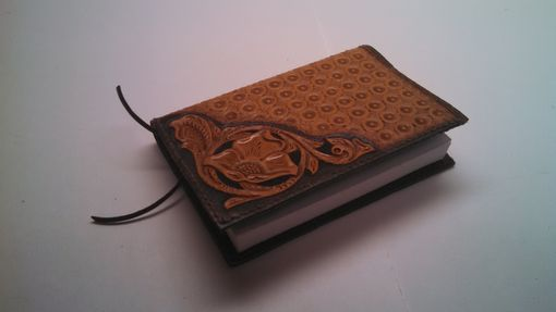 Custom Made Hand Carved Leather Pocket Sized Big Book Cover