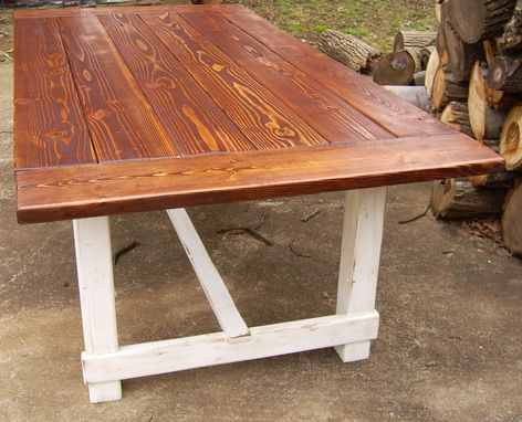 Custom Made Reclaimed Wood Trestle Style Farmhouse Table With Antiqued White Base