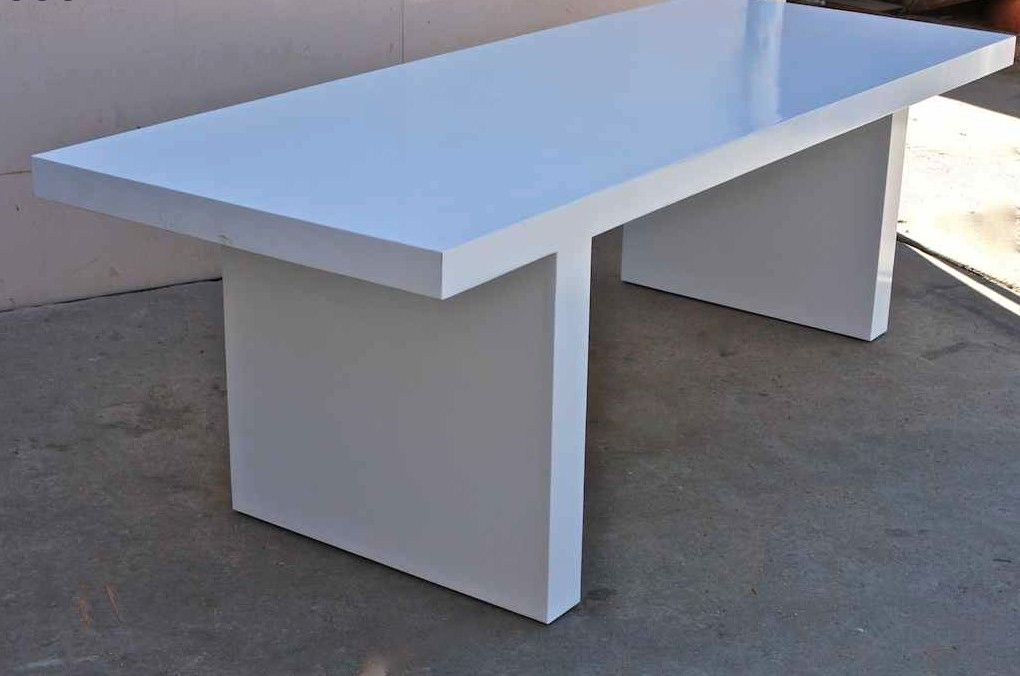 Hand Crafted White Lacquer Mid Century Modern Dining Table