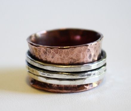 Custom Made Copper And Sterling Silver Spinner Ring - $120