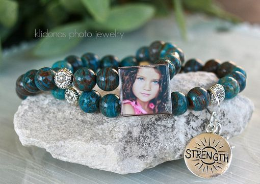 Custom Made Picture Bracelet, Bracelet With Photos, Photo Jewelry, Turquoise Bracelet