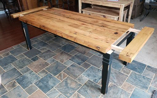 Custom Made Oak Thick Top Farm Table With Comapny Boards
