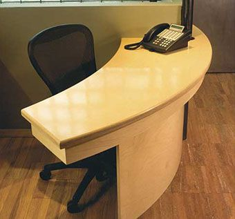 Hand Crafted Curved Reception Desk By Hudson Cabinetry