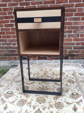 Custom Made Custom Night Stands, Made To Order, Walnut And Maple With Steel Straps
