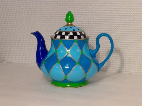 Custom Made Hand Painted Tea Pot // Painted Coffee Pot // Painted Tea Pot // Alice In Wonderland Tea Pot