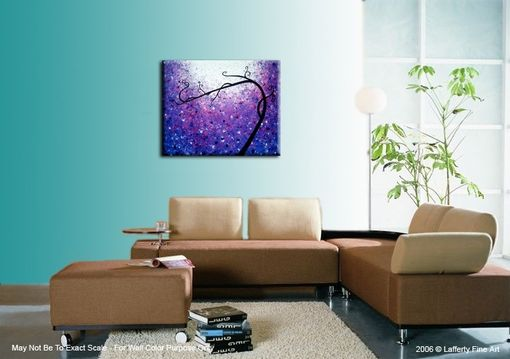 Custom Made Huge Original Abstract Tree Painting, Textured Purple Floral Tree Painting, Palette Knife Acrylic