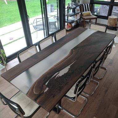 Custom Made Epoxy And Wood Dining / Conference Table