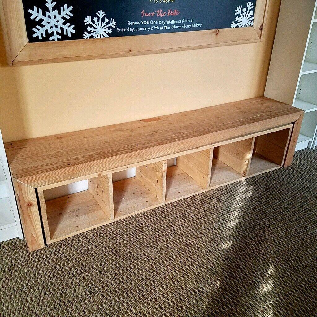 Custom Made Balance Bench With Removable Bookshelf