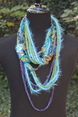 Custom Made Blue Moss - Womens Scarf, Mixed Fiber Neck Wrap/Twist, Embellished Handmade Clasp, Gold Leaf