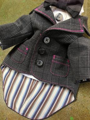 Custom Made Grey Wool Check And Pink Stitch Boy's Tailored Jacket And Collar And Bow Tie