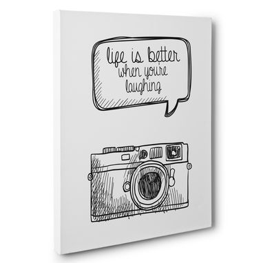 Custom Made Life Is Better When You'Re Laughing Motivational Canvas Wall Art