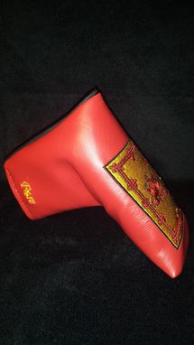 Custom Made Custom Putter Fore Leaf Golf Head Cover, Red With Embroidered Scottish National Flag