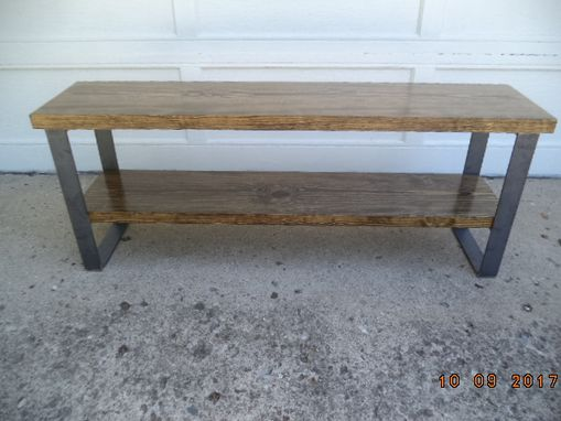 Custom Made Wood And Steel Bench, Wooden Bench, Reclaimed Wooden Bench, Entryway Bench