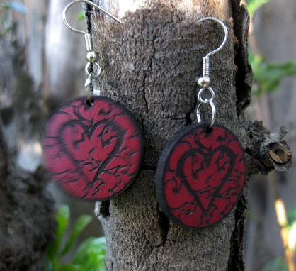 "Custom Made 1"" Black Heart Leather Earrings, Surgical Steel Fish Hook."