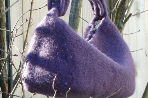 Custom Made Perfectly Plum Felted Wool Hobo With Natural Iron Handle