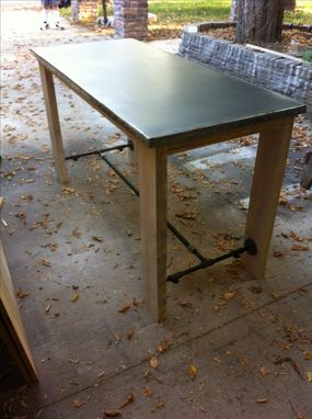 Custom Made Metal Topped And Pinned Bar Height Table