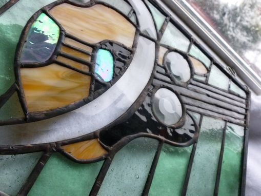 Custom Made Beveled Fender Bass And F Clef Stained Glass Panel