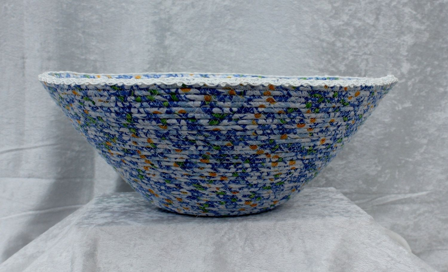 Hand Crafted Fabric Bowl - Fabric Art - Home Decor - Wrapped ...