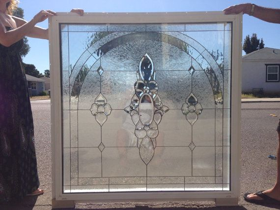 Custom Made Incredible 4x4 Clear Beveled Stained Glass