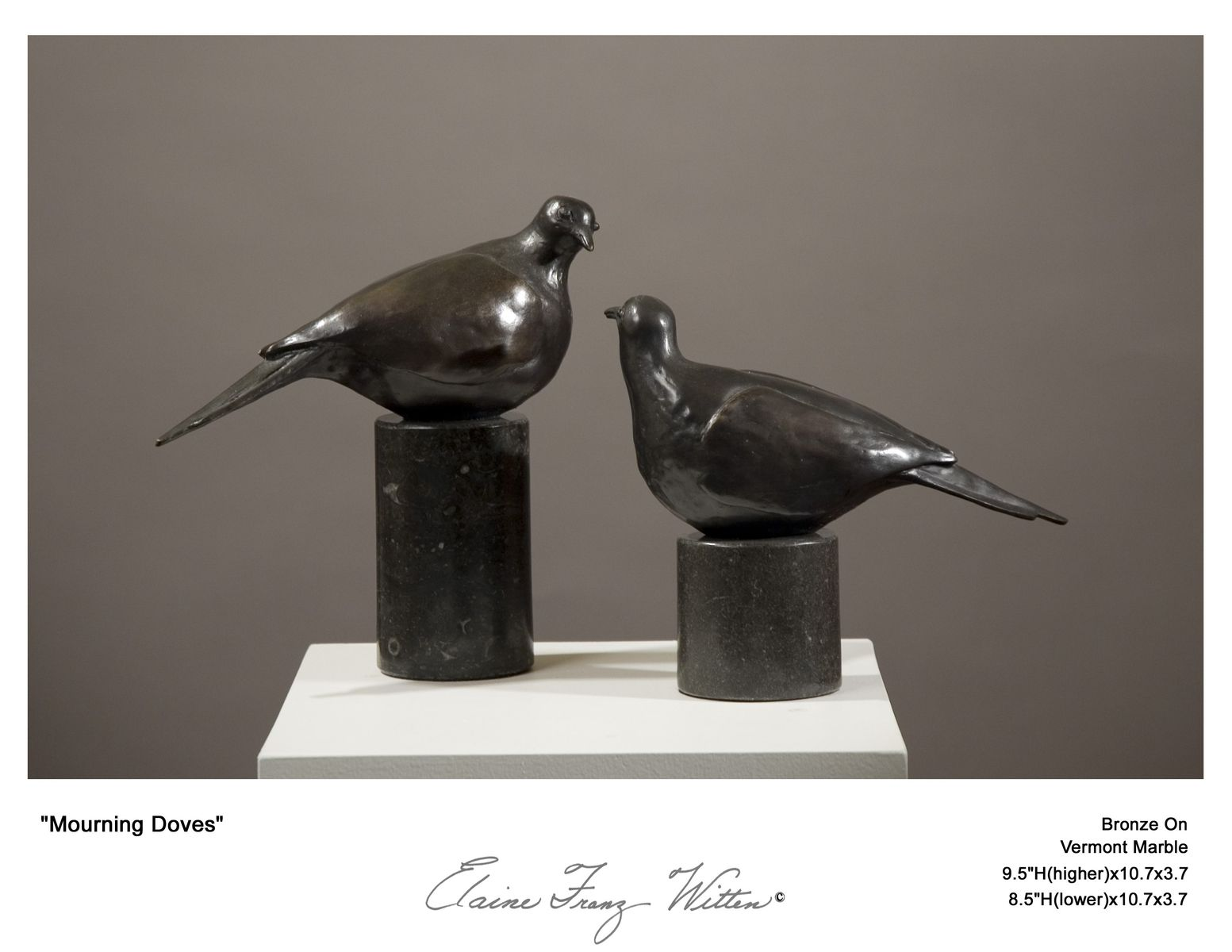 Hand Made Bronze Bird (Dove) Sculpture Pair By Elaine