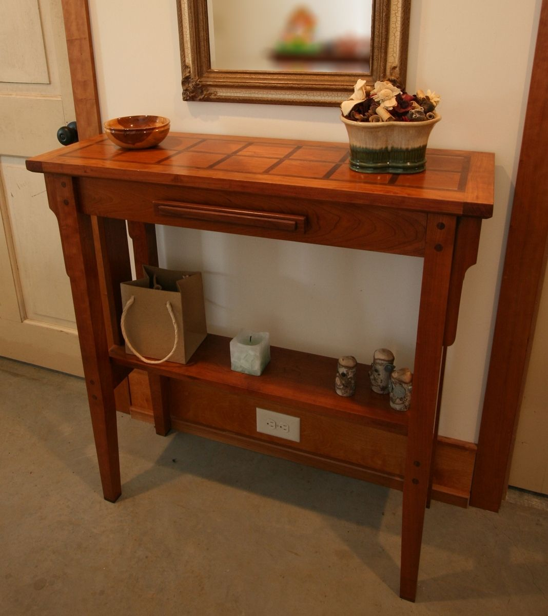 Solid Cherry Hall Table With Walnut Accents