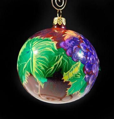 Custom Made Hand Painted Vinyard Christmas Ornament For Wine Lovers