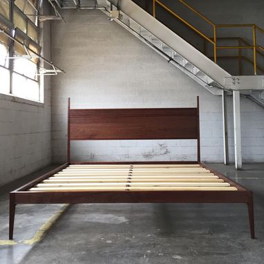 Custom Made Modern Tall Post Bed In Walnut
