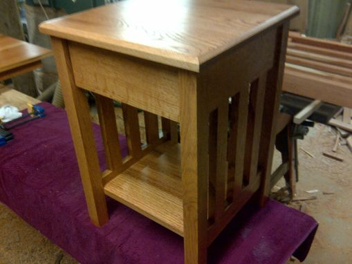 Custom Made Mission Style End Table With Dovetailed Drawer
