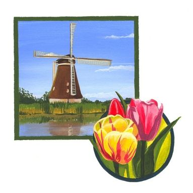 Custom Made Windmill With Tulips