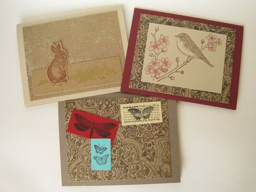 Custom Made Trio Of Nature Inspired Handstamped Cards