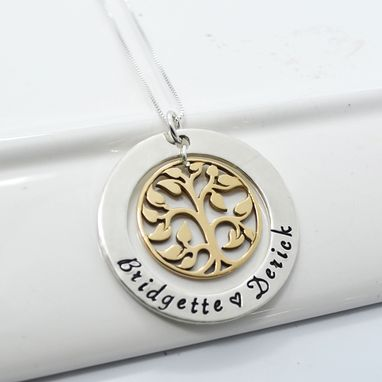 Custom Made Tree Of Life Personalized Mixed Metal Mother's Necklace