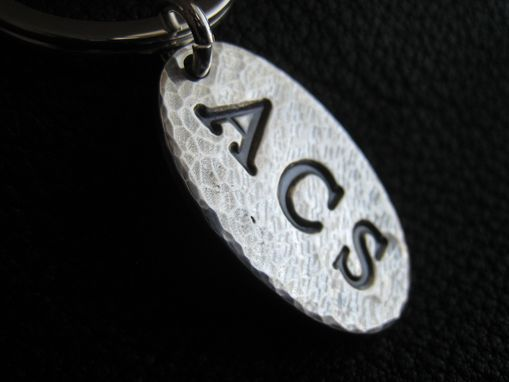 Custom Made Opulent Oval Personalized Key Chain Keychain In Hand Hammered Sterling Silver Monogrammed