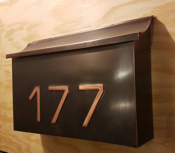 Custom Made Large Patina Copper Mailbox With Embossed House Numbers